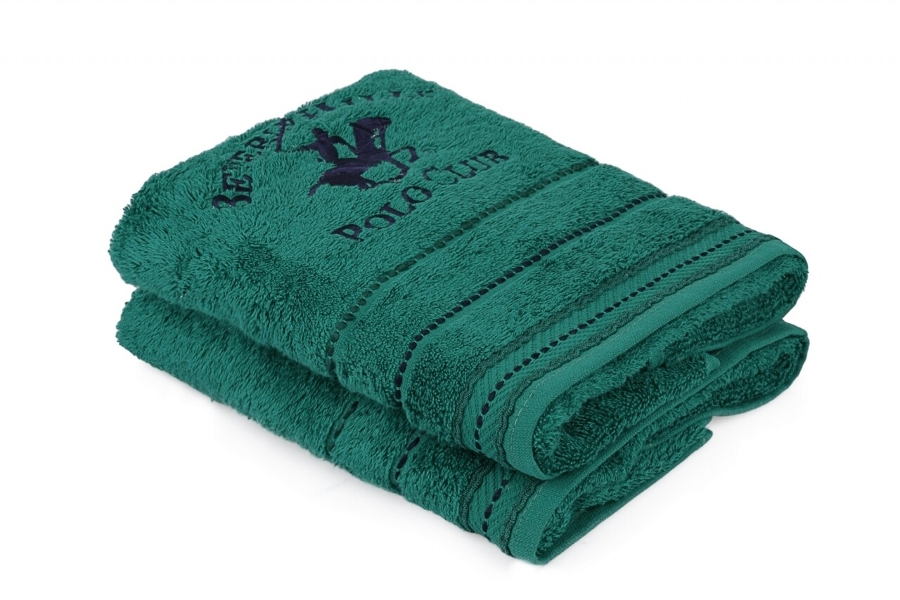 Set 2 prosoape de maini, Beverly Hills Polo Club, 50x90 cm, 100% bumbac, verde