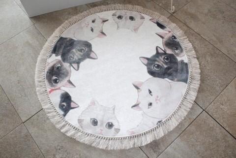 Covoras de baie, Chilai, Angry Cats, bej/negru
