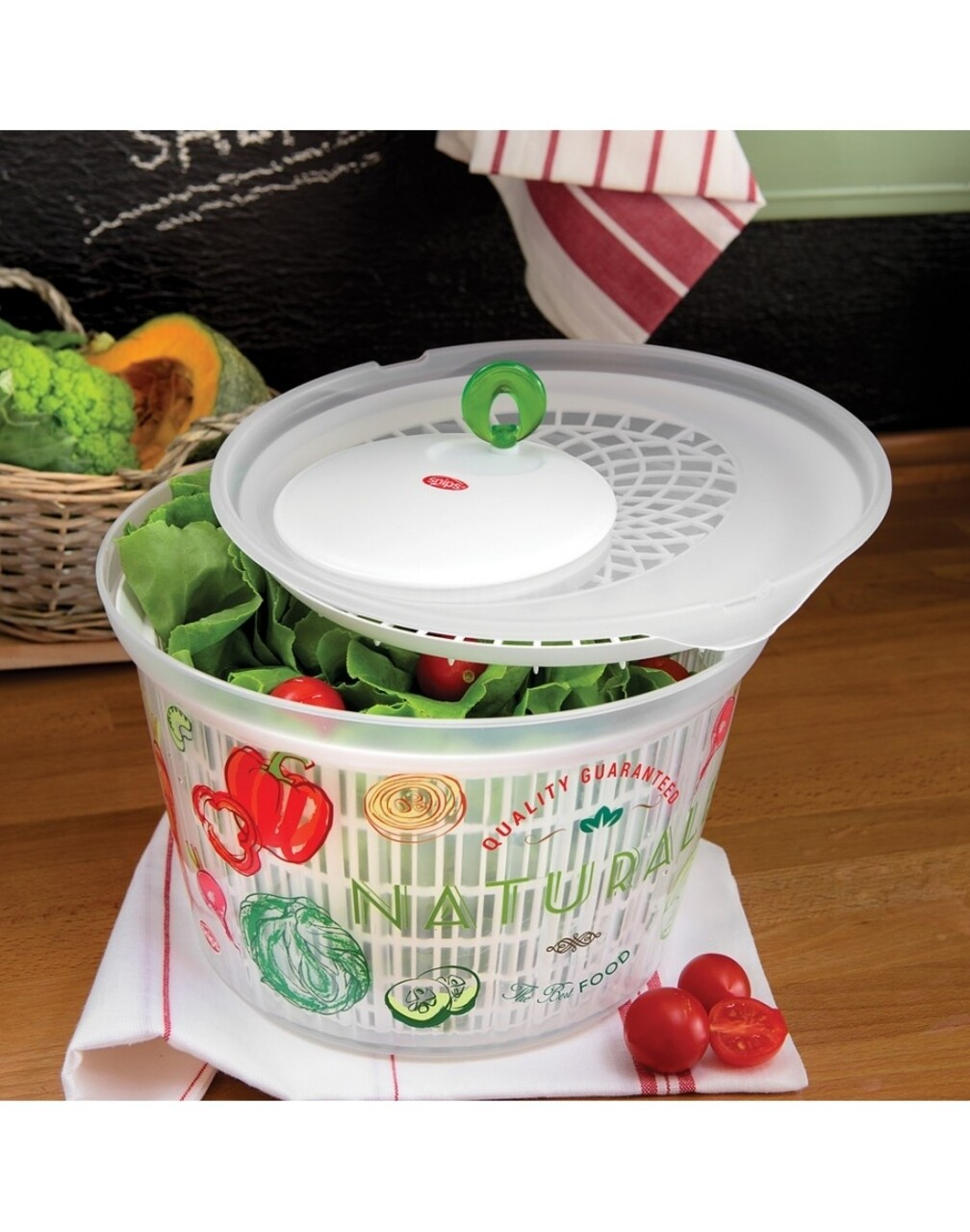 Uscator salata si verdeturi, Snips, Vintage, 4 L, polipropilena, alb