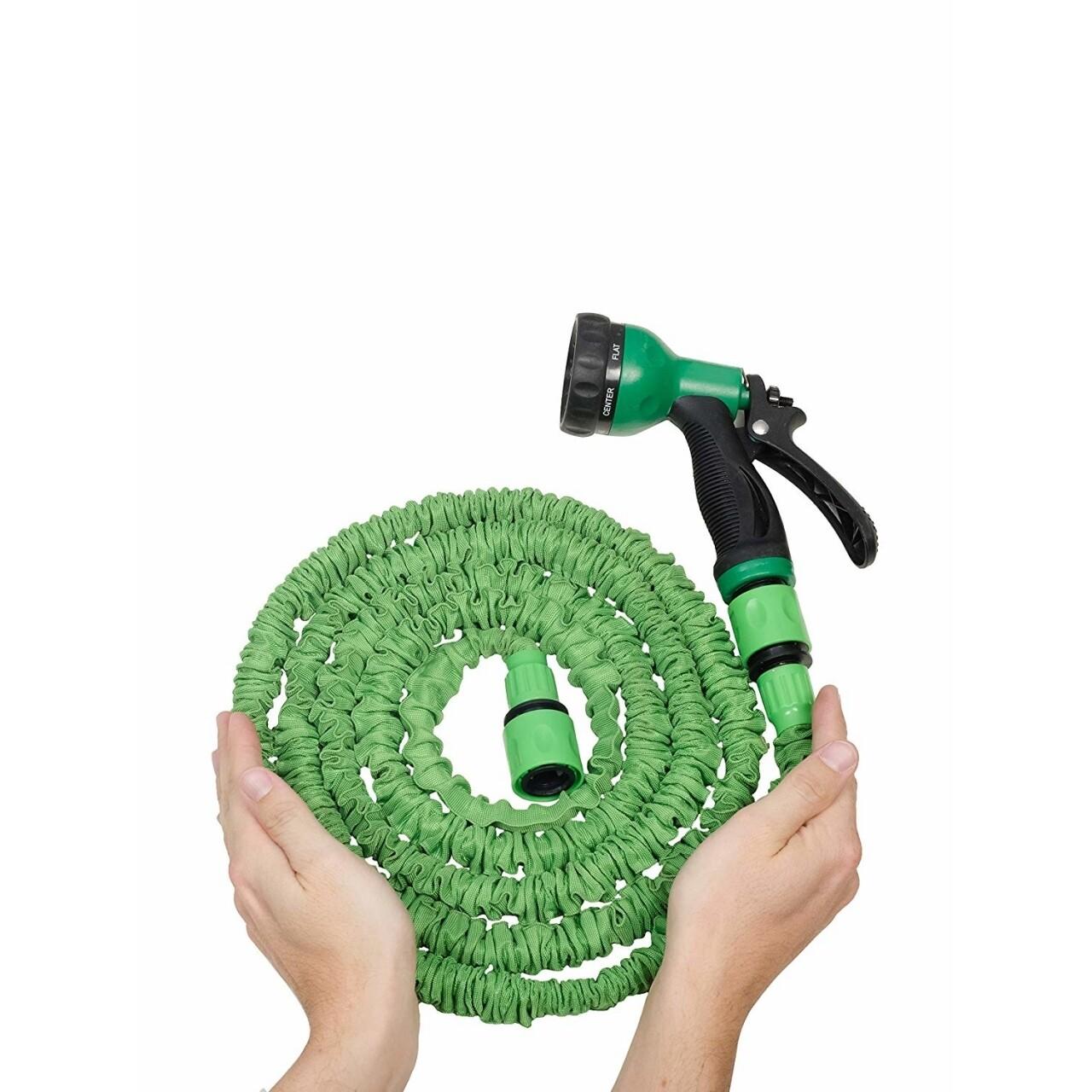 Furtun extensibil Green Jocca, 15 m, latex/poliester, verde