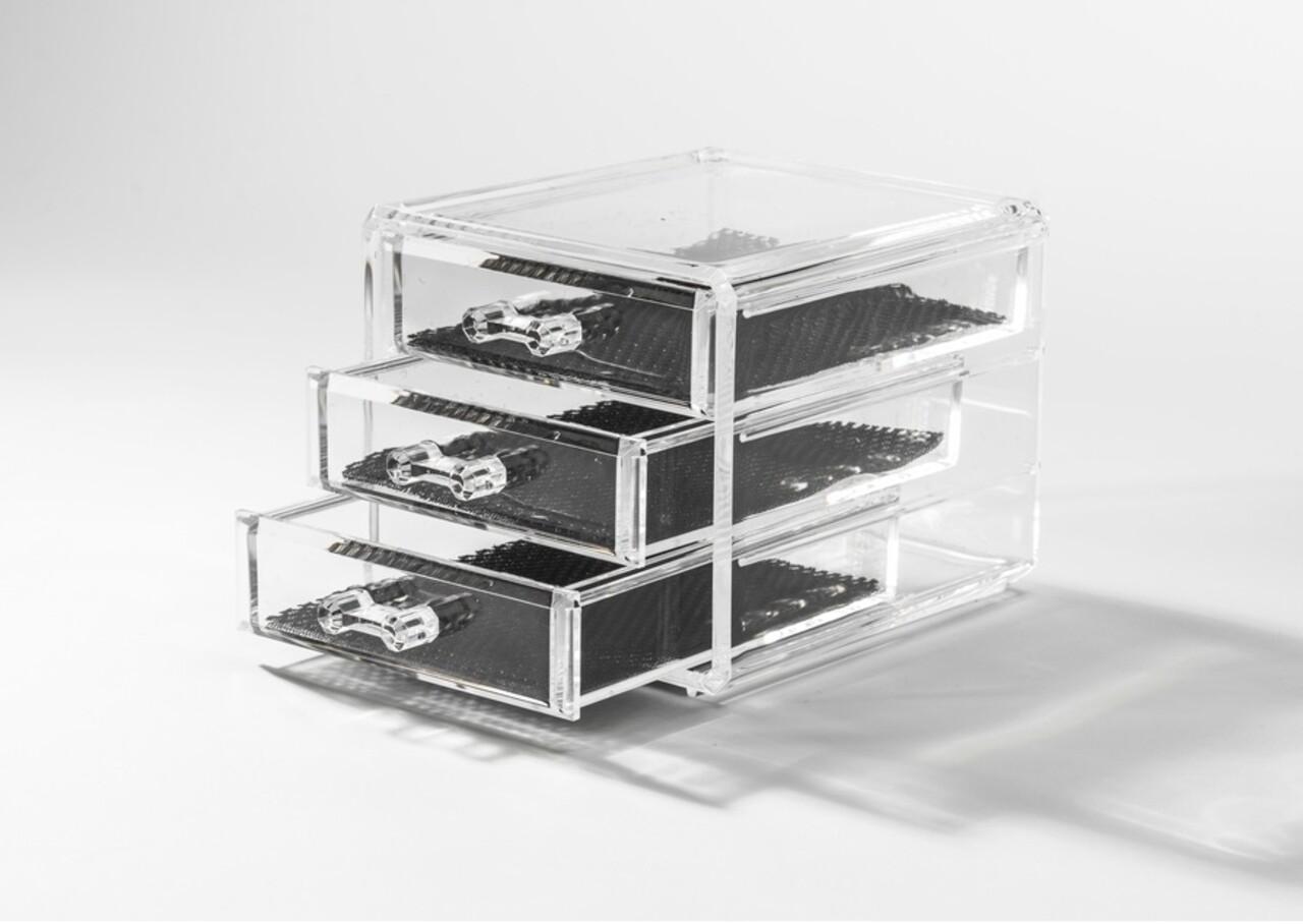 Organizator pentru bijuterii Compactor, 3 sertare, polistiren, transparent
