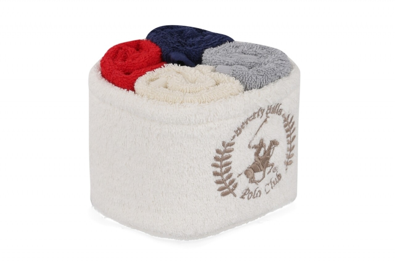 Set 4 prosoape de baie cu cos, Beverly Hills Polo Club, 30x30 cm,  100% bumbac, alb/gri/rosu/albastru inchis