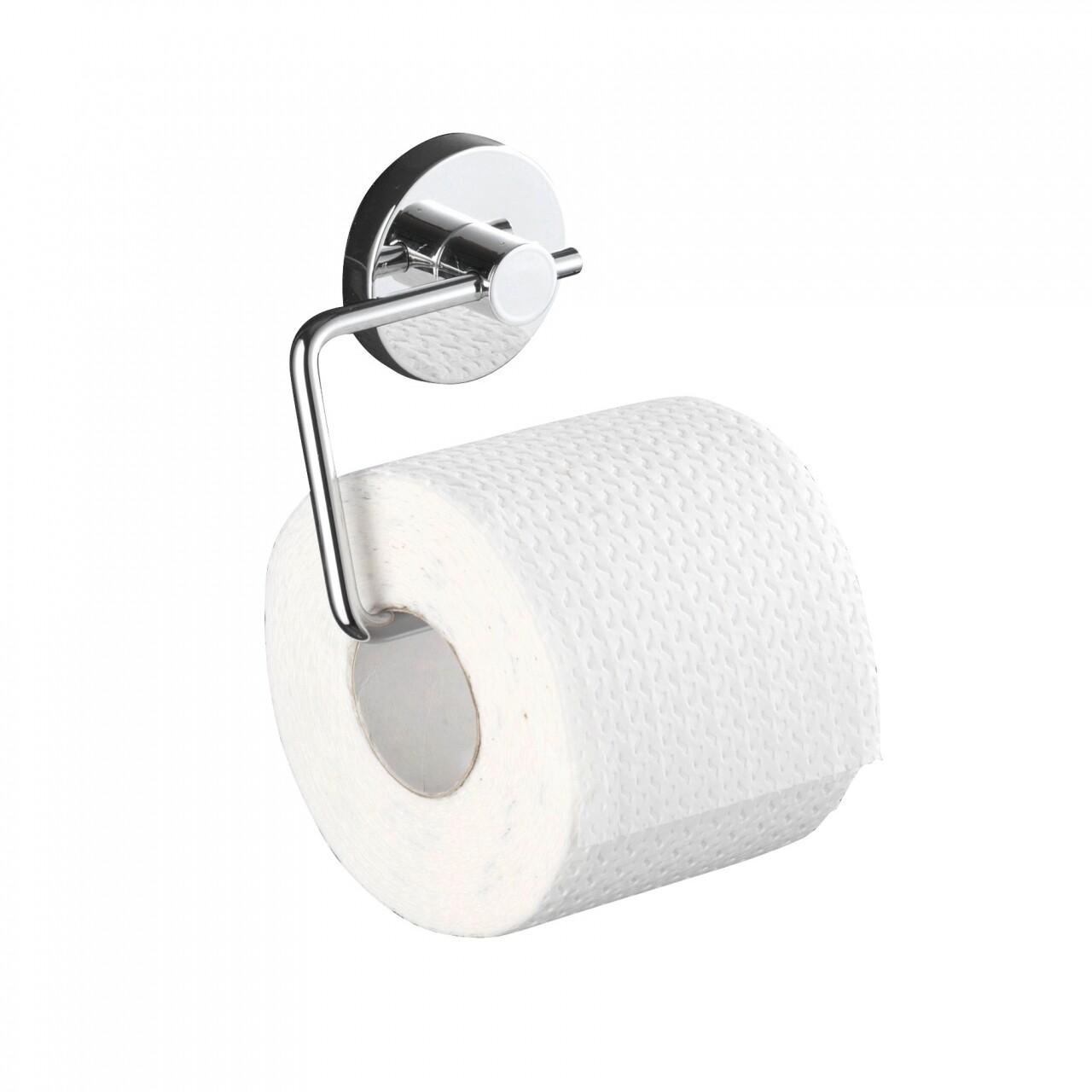 Suport pentru hartie igienica WENKO Vacuum-Loc®, fara gaurire si insurubare, 13.5 x 16 x 17.5 cm, otel, argintiu