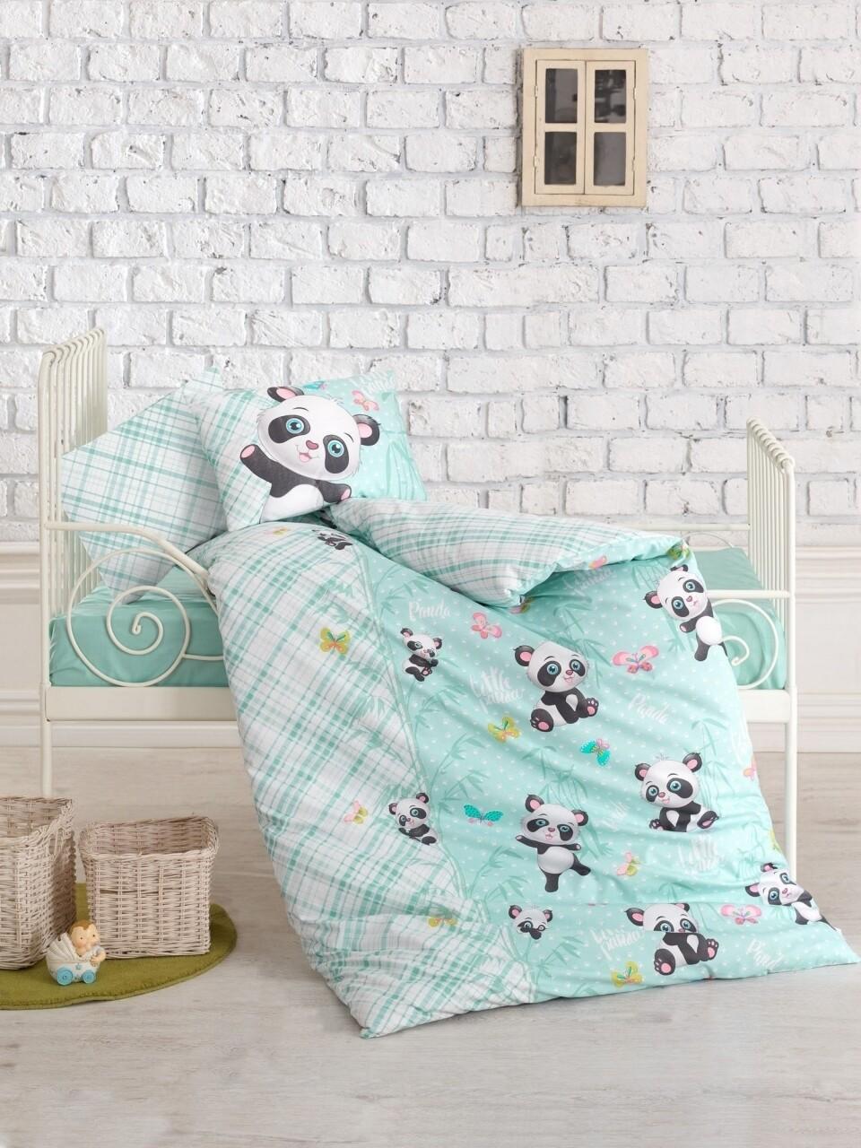 Lenjerie de pat pentru copii, 4 piese, 100% bumbac ranforce, Cotton Box, Panda