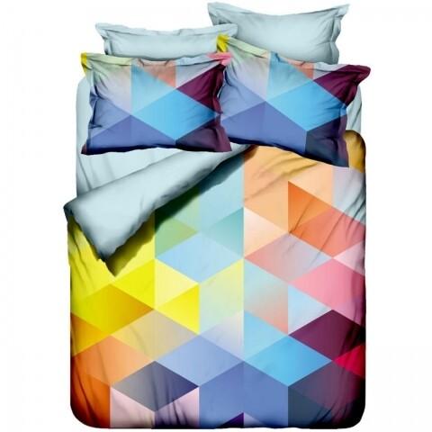 Lenjerie de pat dubla Cube, 6 piese, 240 x 260 cm, bumbac satinat, multicolora