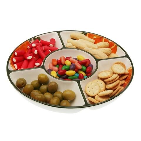 Platou pentru servire, Versa, Entremesera Naranjas, 25.5 cm Ø, dolomita, multicolor