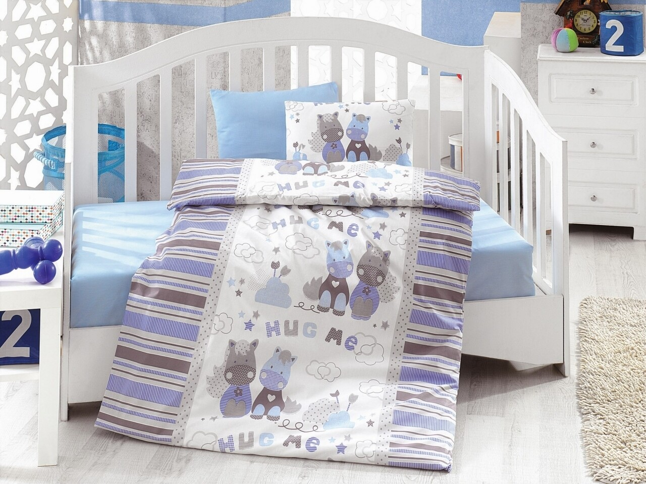Lenjerie de pat pentru copii, 4 piese, 100% bumbac ranforce, Cotton Box, Hug me