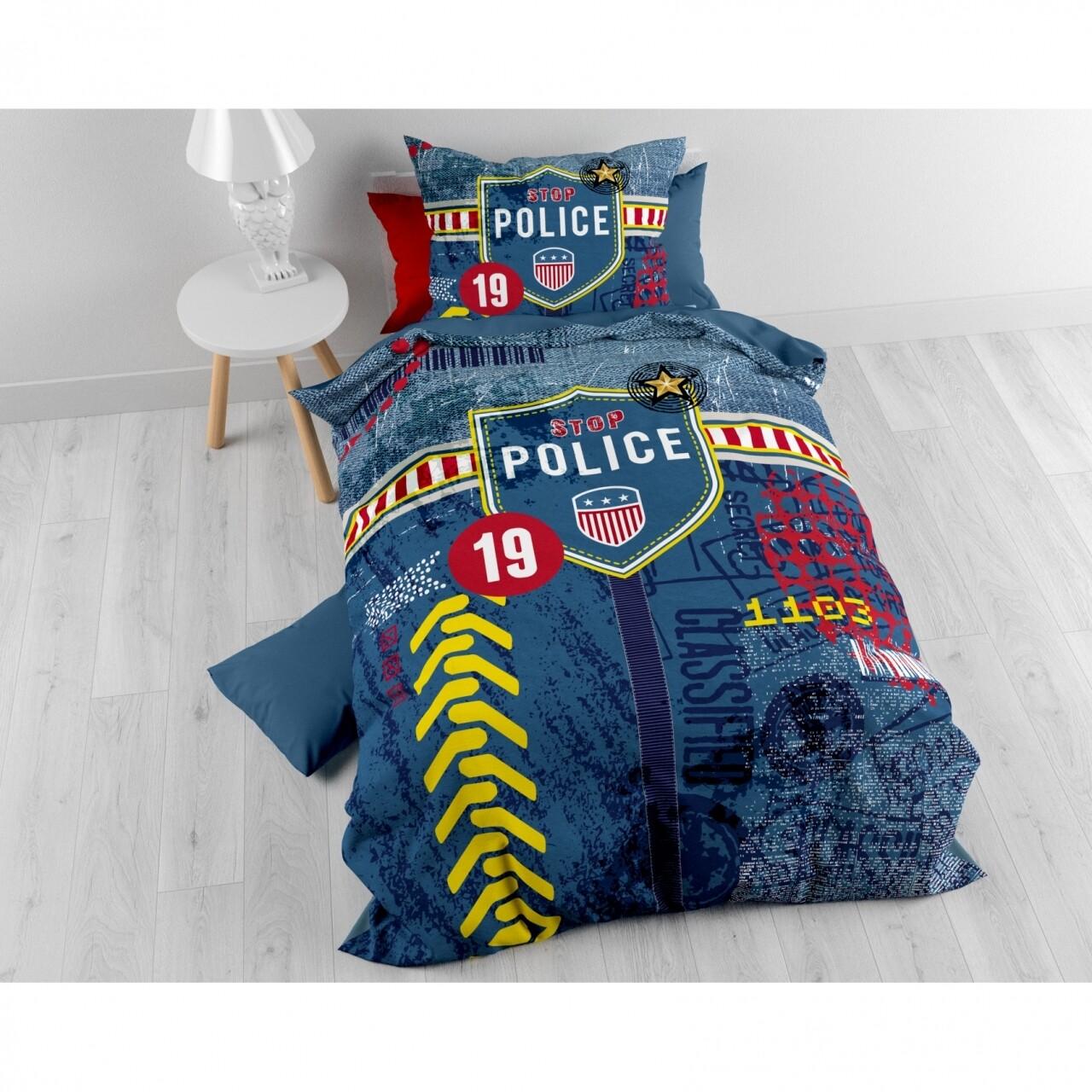 Lenjerie de pat pentru o persoana, Police Man Blue, Royal Textile,  2 piese, 140 x 200 cm, 100% bumbac, multicolora