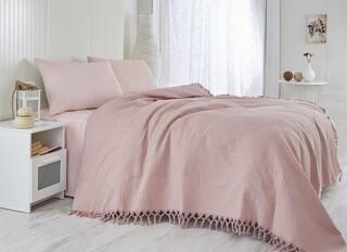 Cuvertura de pat dubla, Saheser, 122 - Dusty Rose, 220x240 cm, 100% bumbac, 340 gr/m², roz