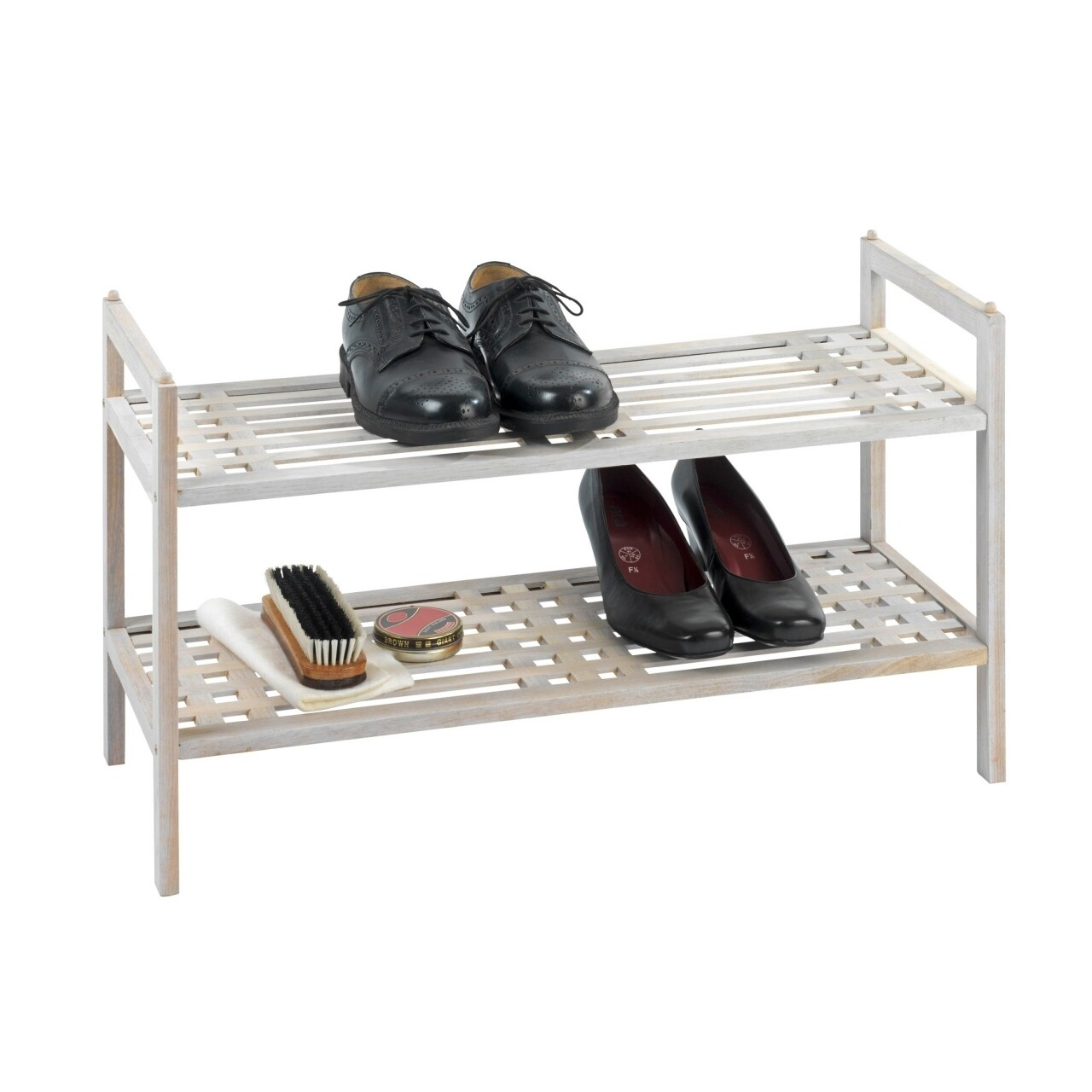 Suport pantofi Norway White, Wenko, 6 perechi, 60x40.5x27 cm,  lemn de nuc, natur