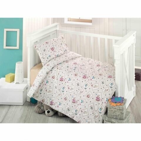 Lenjerie de pat Ranforce pentru copii, Oursson Bedora, 3 piese, 170 x 120 cm, 100% bumbac, multicolora