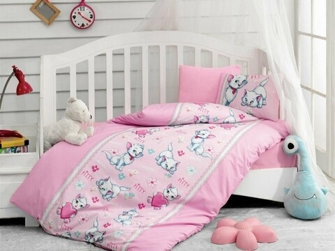 Lenjerie de pat pentru copii, 4 piese, 100% bumbac ranforce, Cotton Box, Kitty