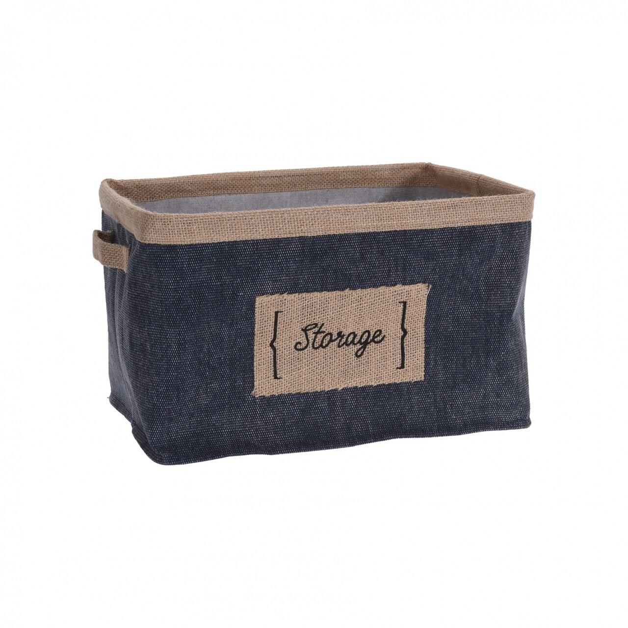 Cos depozitare Storage, 32x25x20 cm, panza/iuta, gri/bej