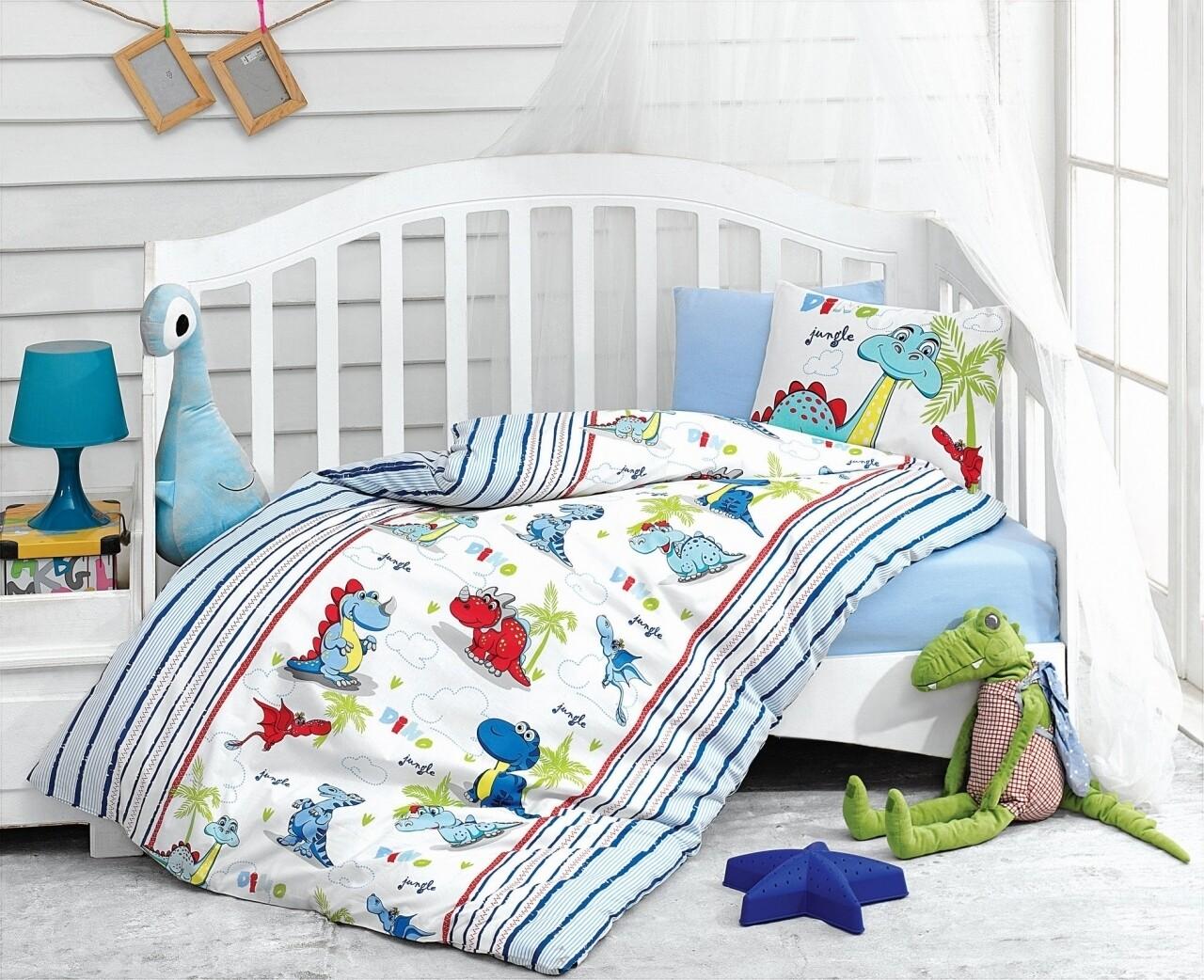 Lenjerie de pat pentru copii, 4 piese, 100% bumbac ranforce, Cotton Box, Dinozauri