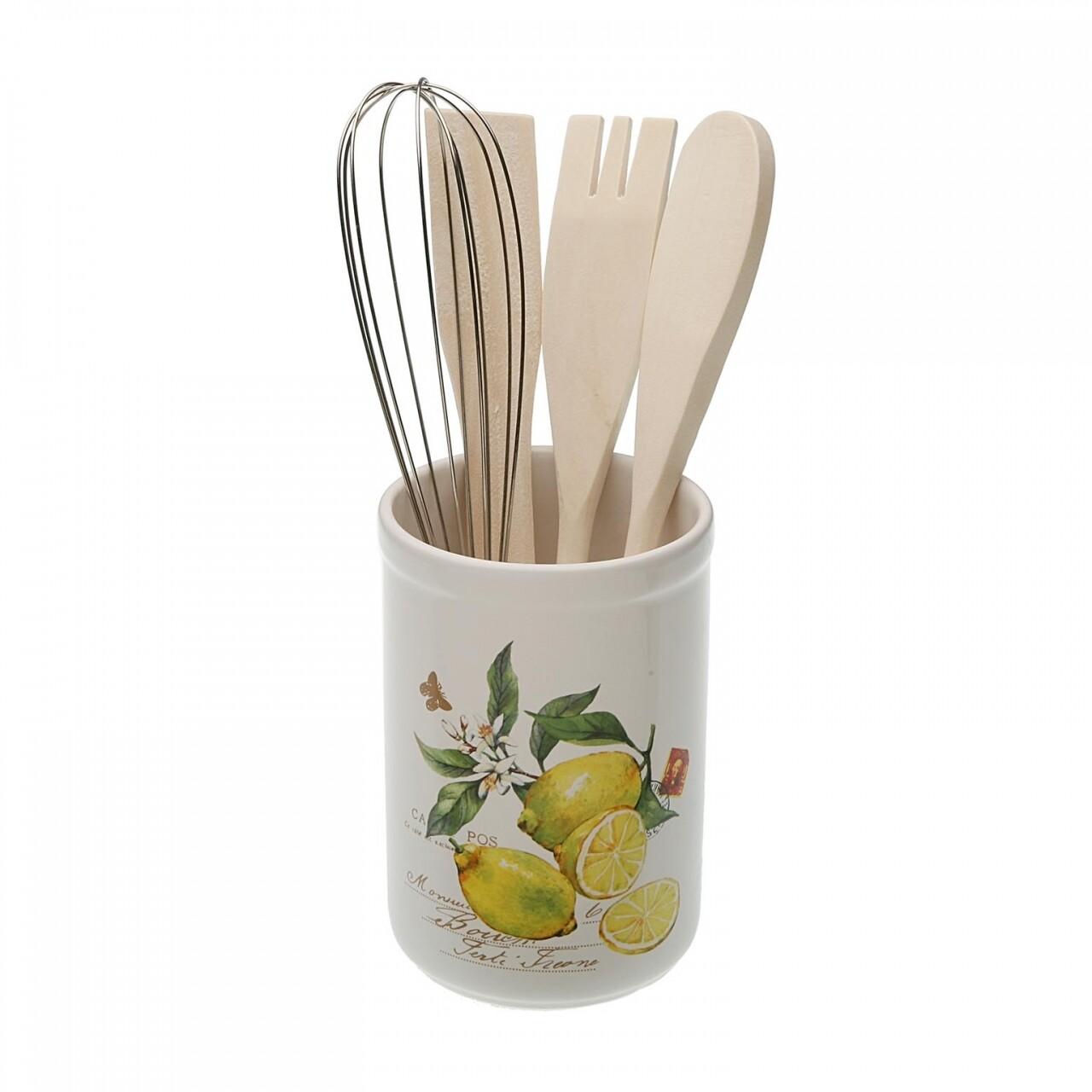 Suport cu ustensile Lemons, Versa, 10 x 10 x 15 cm, lemn/ceramica, multicolor