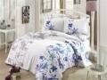 Lenjerie de pat dubla, 6 piese, 240x260 cm, 100% bumbac satinat, Hobby, Lucia, alb/albastru