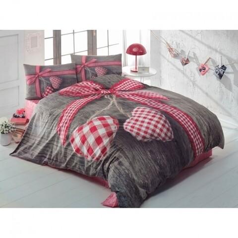 Lenjerie de pat dubla Lovebox Red 2, Cotton Box, 4 piese, 240 x 260 cm, 100% bumbac ranforce, multicolora