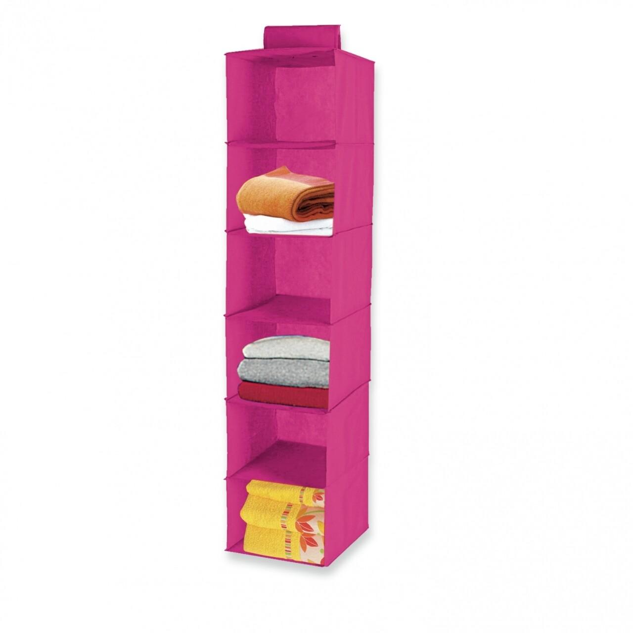 Organizator Jocca 6 rafturi, 30x30x120 cm, PEVA, roz