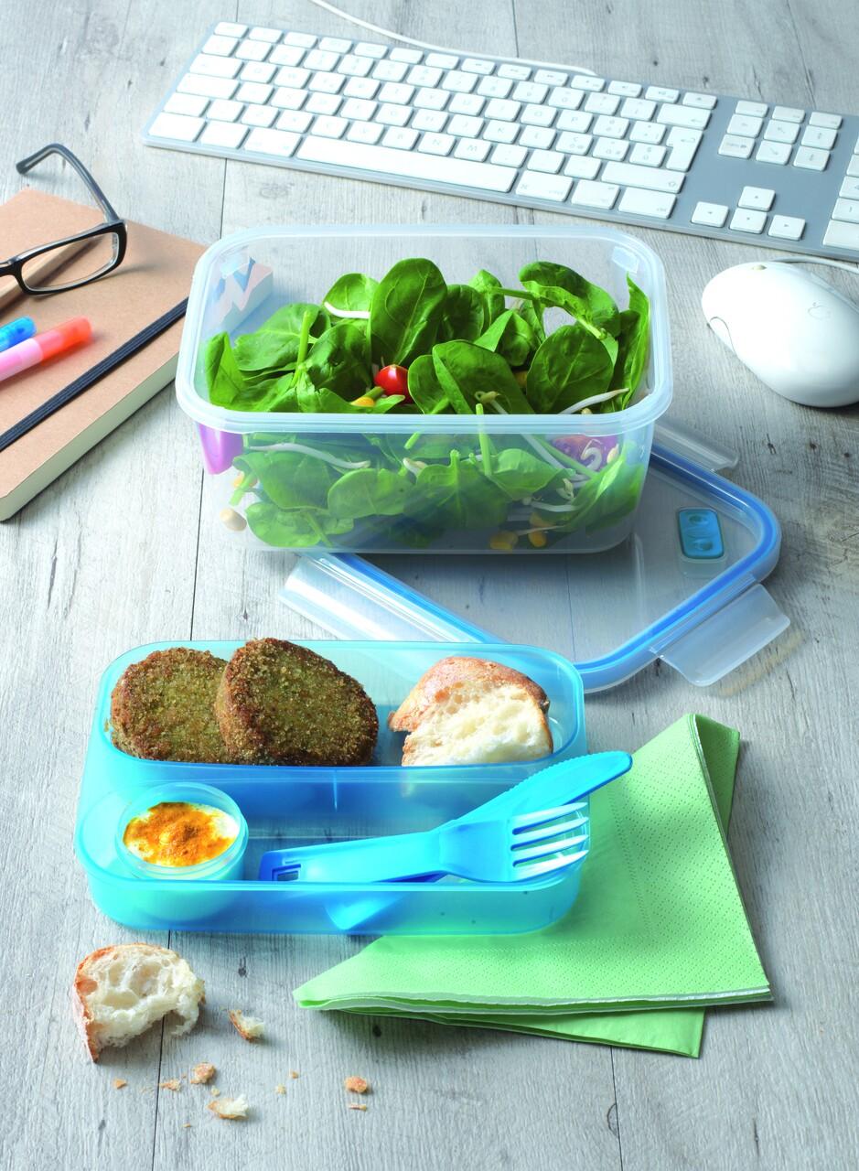 Caserola dreptunghiulara cu capac, Snips, Lunchbox Blue, 1.5 L, polipropilena, albastru