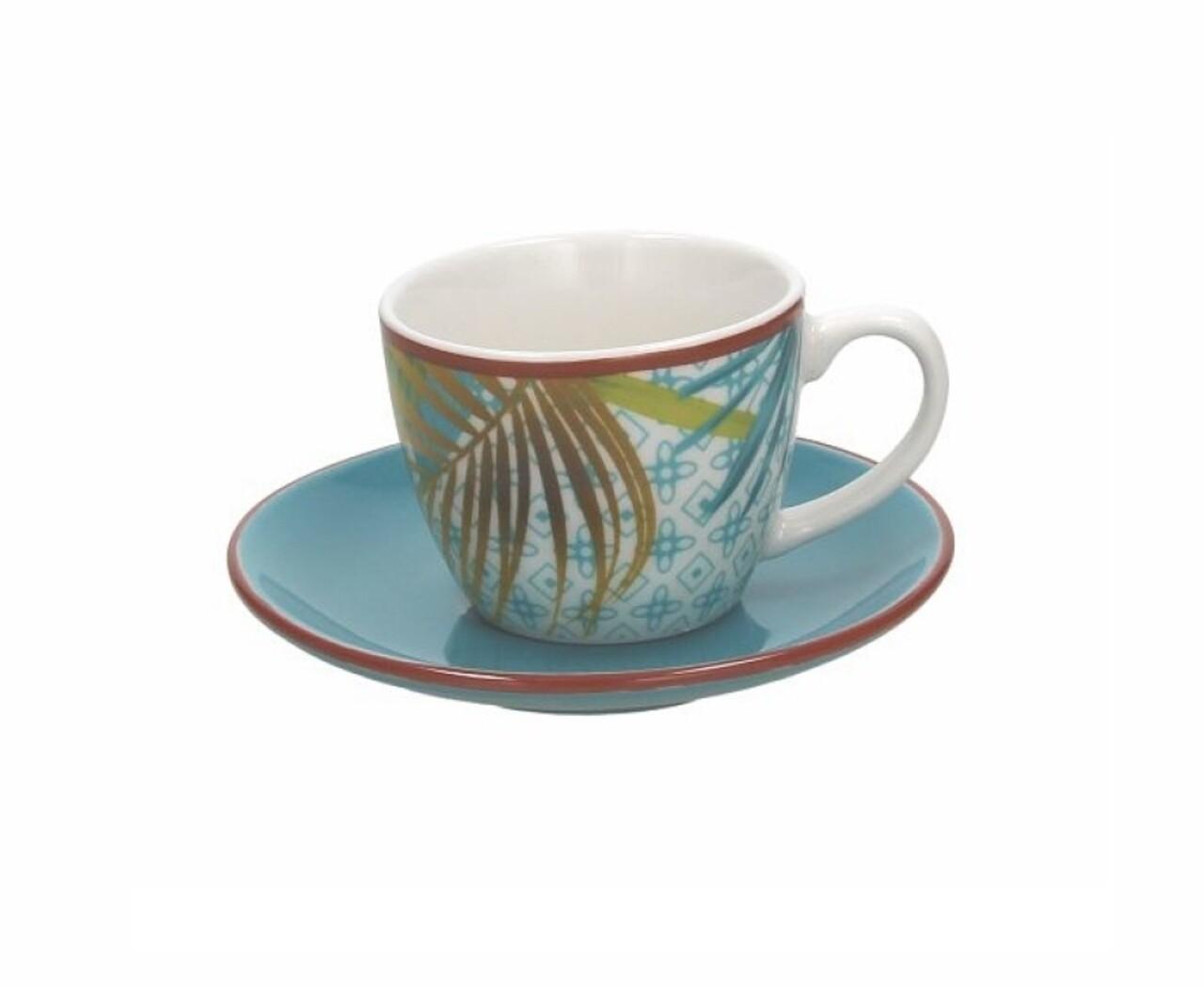 Set 6 cesti de cafea cu farfurii  Metropolis Jungle, Tognana, ceramica, 80 ml/11 cm, multicolor