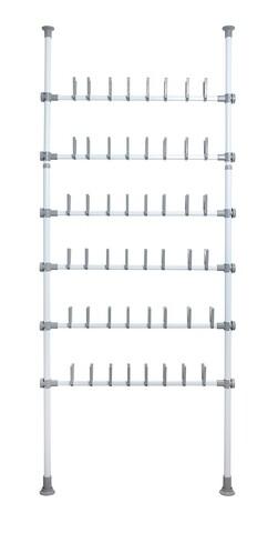 Suport extensibil pentru incaltaminte, Wenko, Herkules Pull-out Shelf, 48 perechi, inox/plastic/polipropilena, gri/alb
