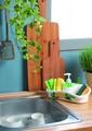 Dispenser detergent de vase cu 2 compartimente pentru burete si accesorii, Snips, Saponello, polipropilena, multicolor