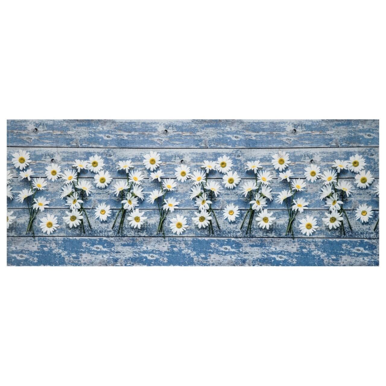 Covor rezistent Webtappeti Camomilla 58 x 190 cm, albastru/alb