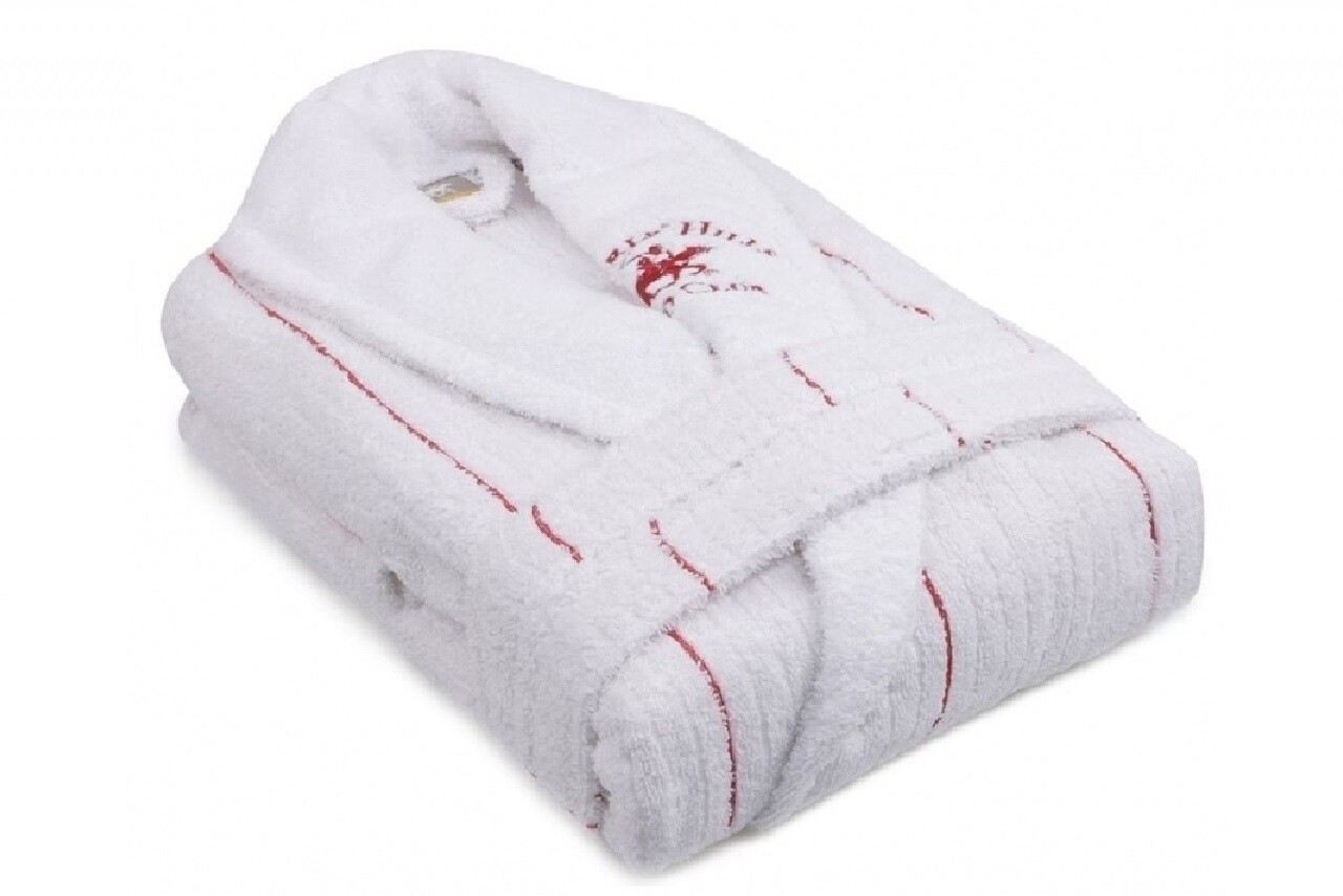 Halat de baie unisex, Beverly Hills Polo Club, 100% bumbac, S/M, White/Red
