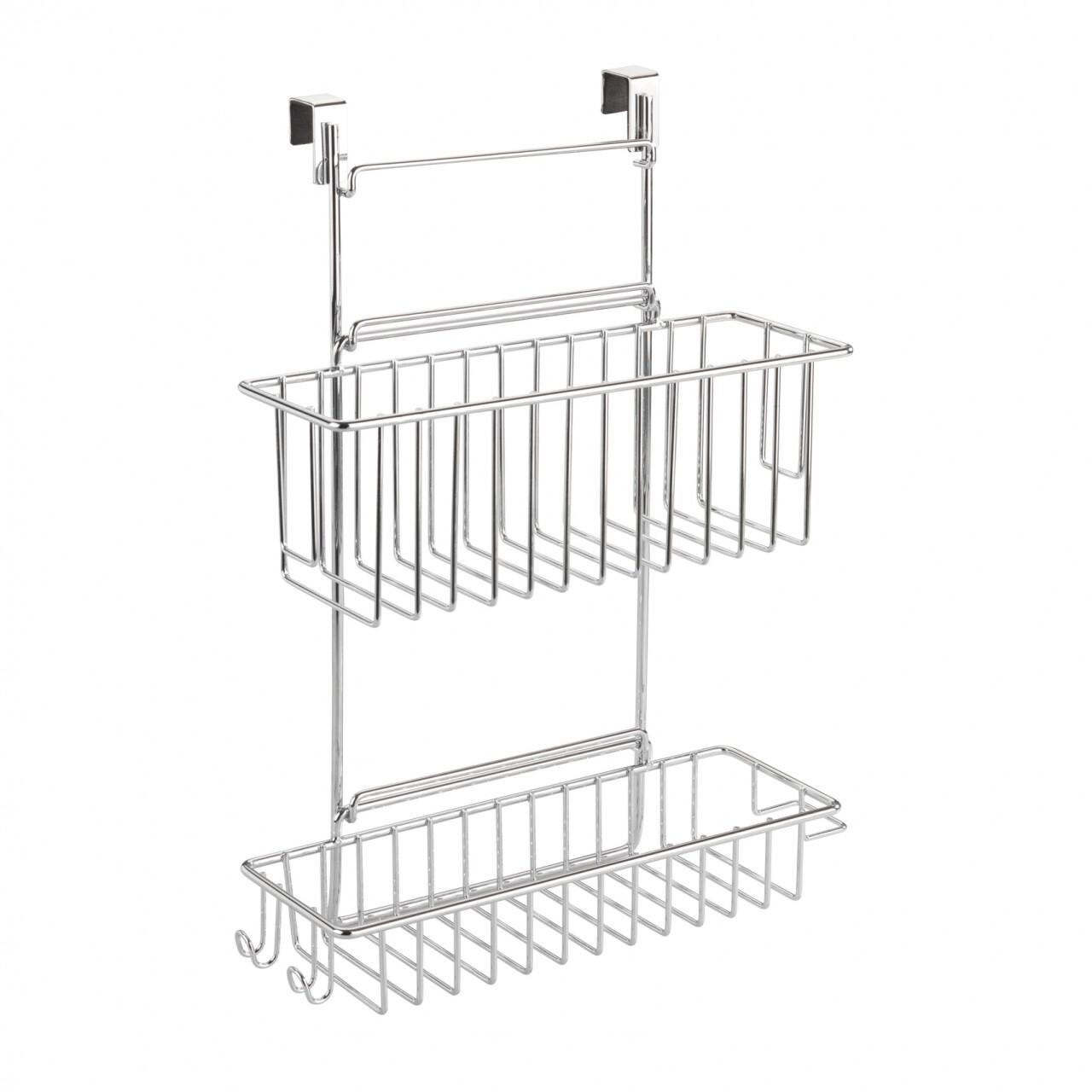 Suport suspendat, Wenko, pentru dulap, cu 2 rafturi, 32 x 47 cm, metal, argintiu