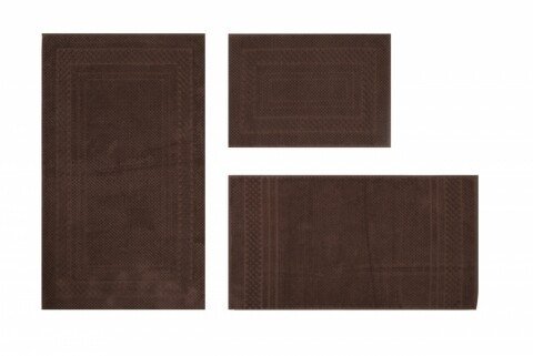 Set 3 covoare de baie, 100% bumbac, Hobby, Chequers Brown