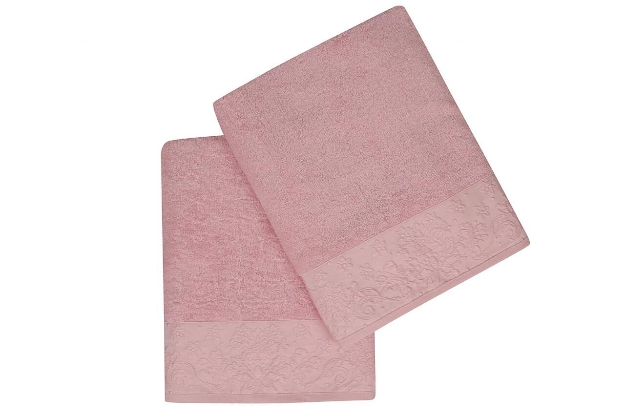 Set 2 prosoape de baie 90x150 cm, 100% bumbac, Soft Kiss, Saltanat, roz