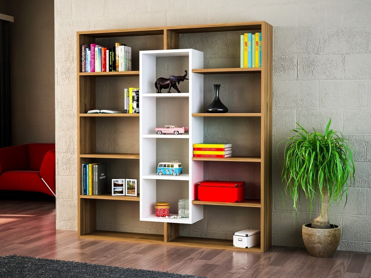 Biblioteca Wooden Art, Ample Walnut White, 125x135.7x22 cm