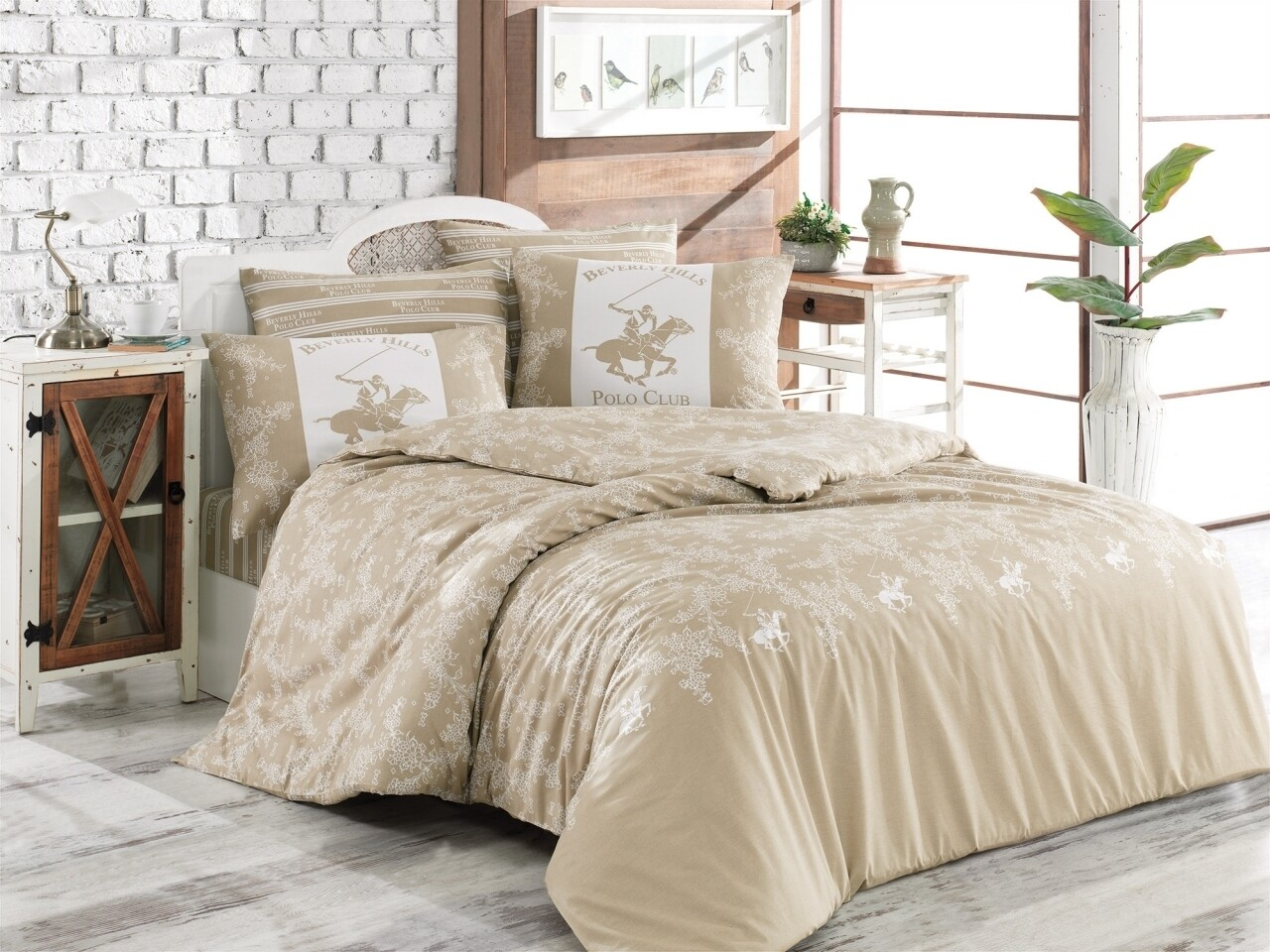 Lenjerie de pat pentru o persoana, Beverly Hills Polo Club, 3 piese, 160 x 240 cm, 100% bumbac ranforce, crem/alb