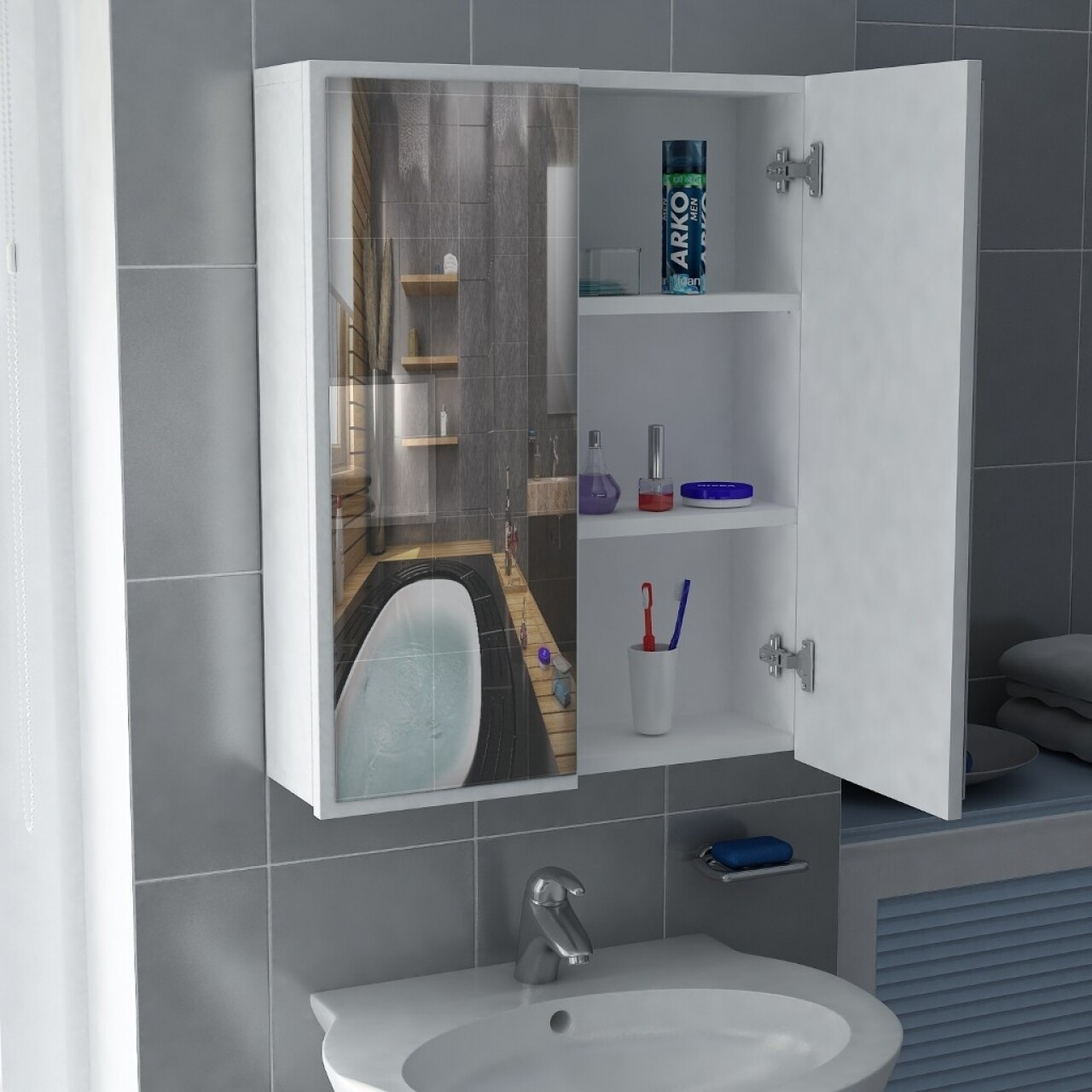 Dulap pentru baie, Wooden Art, Kayla White, 60x17x77.6 cm