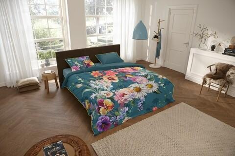 Lenjerie de pat pentru doua persoane, Descanso Novara, 100% bumbac satinat, 3 piese, multicolora