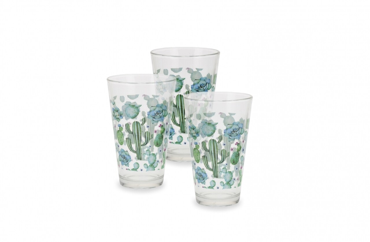 Set 3 pahare Cactus, 12.5 cm, sticla, verde/albastru