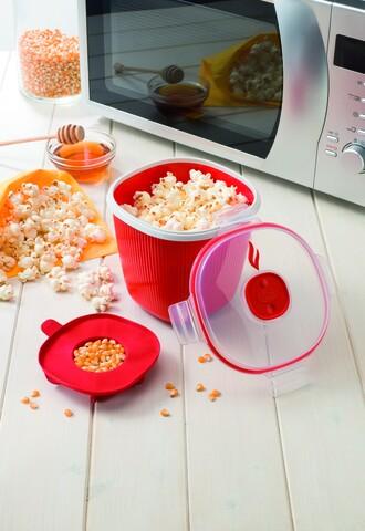 Aparat popcorn pentru cuptorul cu microunde, Snips, 1.5 L, polipropilena, rosu