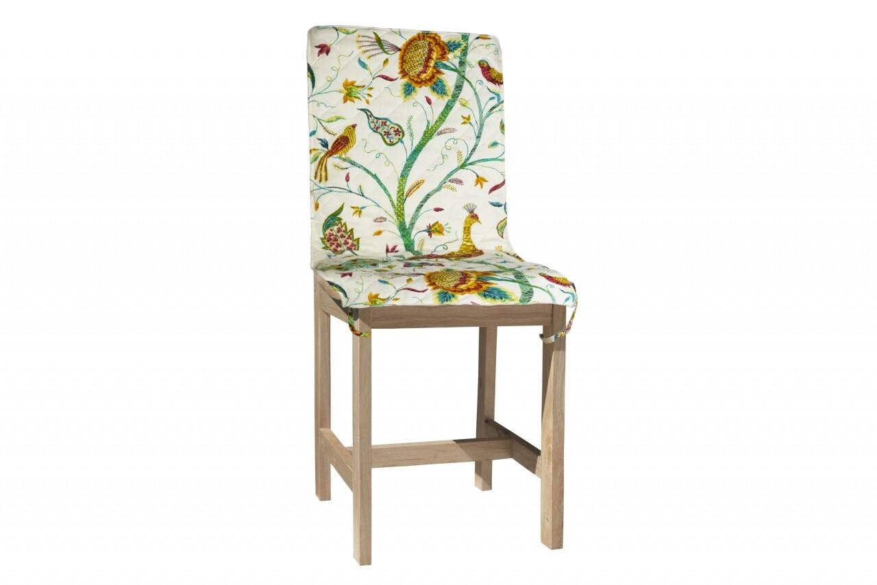Husa spatar scaun 47x100 cm, Pauni, 100% bumbac, multicolor