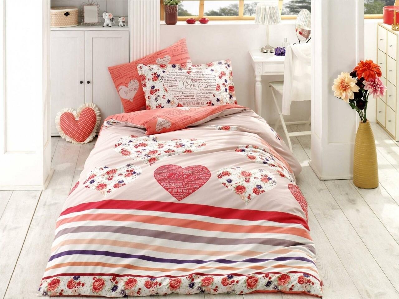Lenjerie de pat pentru o persoana, 3 piese, 100% bumbac poplin, Hobby, Bella, rosu