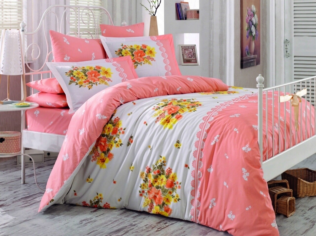 Lenjerie de pat pentru o persoana, 3 piese, 100% bumbac poplin, Hobby, Alvis, somon