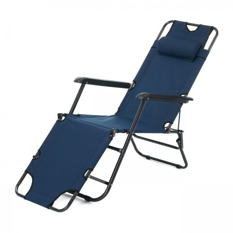 Sezlong pliabil cu tetiera, Heinner, 178x60x79cm, albastru inchis
