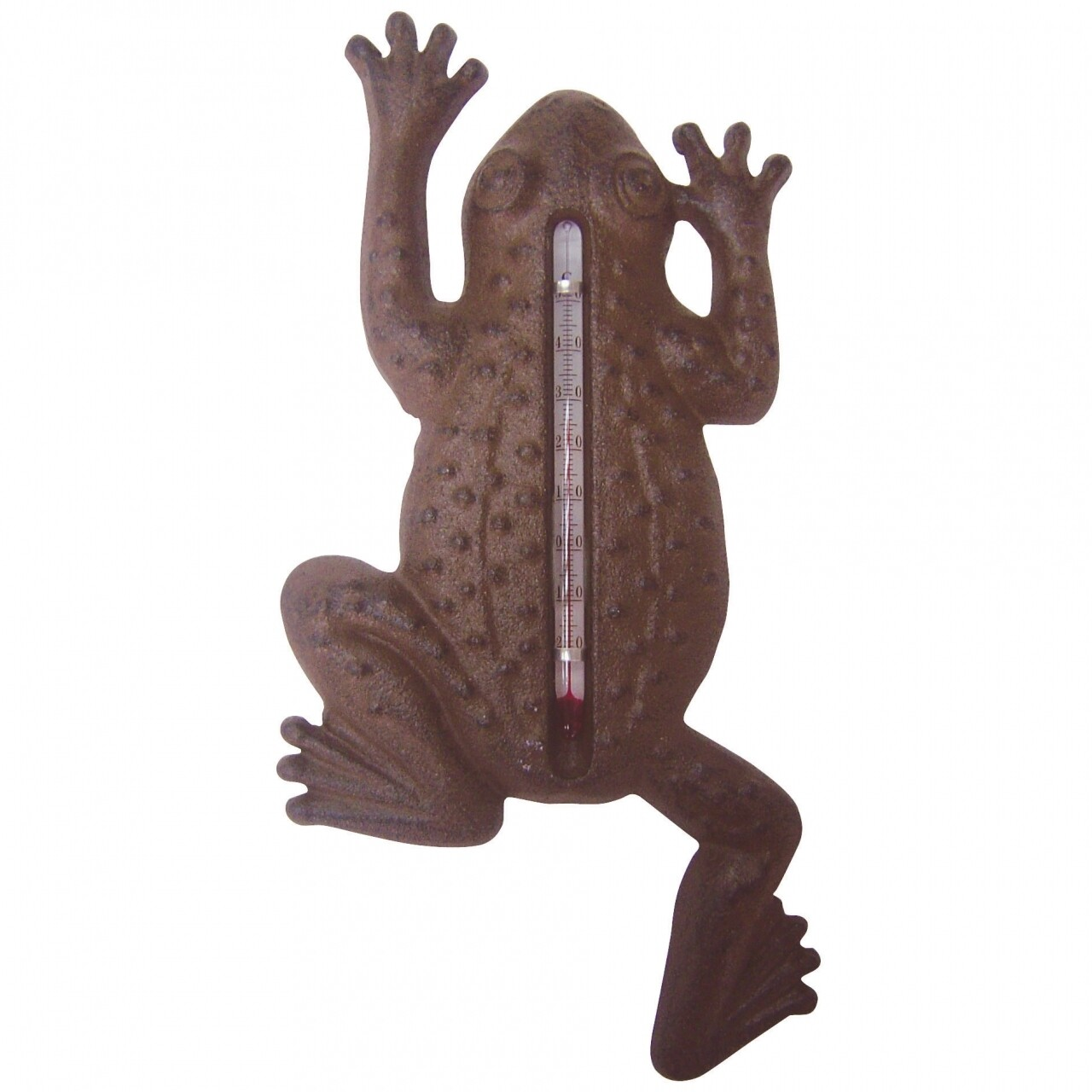 Termometru Frog, Esschert Design, 23.5 x 12 x 1.6 cm, fonta, maro