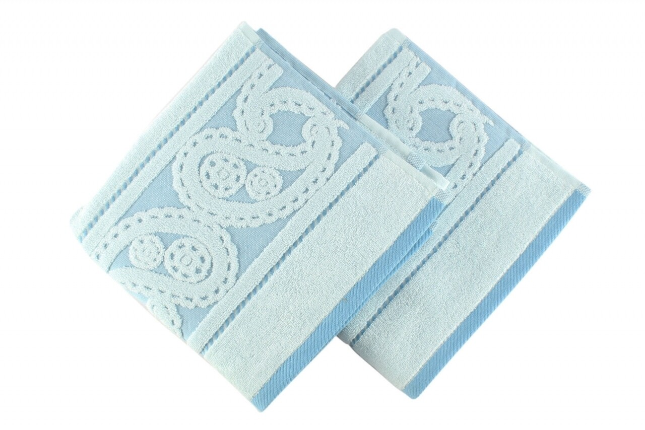 Set 2 prosoape de maini, Hobby, Hurrem, 50x90 cm, 100% bumbac, albastru