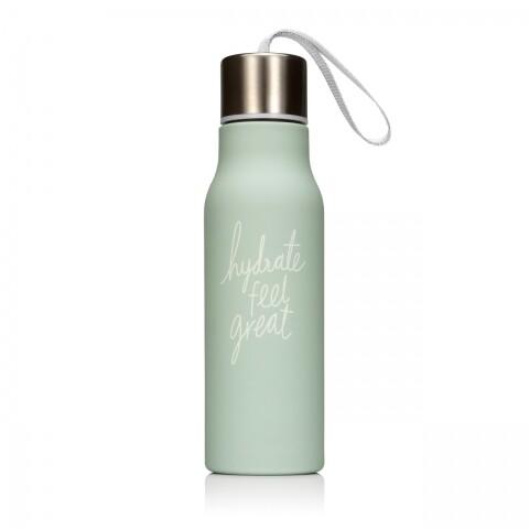 Sticla pentru apa We live like this, NPW, 7 x 7 x 24.3 cm, silicon/aluminiu/nailon, verde pastel