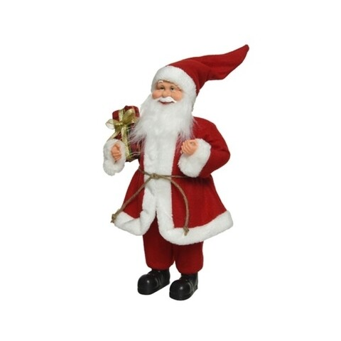 Decoratiune Santa basic w gift, Decoris, H30 cm, poliester, rosu