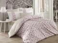Lenjerie de pat pentru o persoana, 3 piese, 100% bumbac poplin, Hobby, Luisa, roz/bej