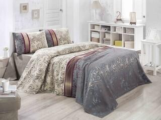 Cuvertura de pat dubla, Victoria, Hurrem, 200x230 cm, 100% bumbac, 260 gr/m², multicolor