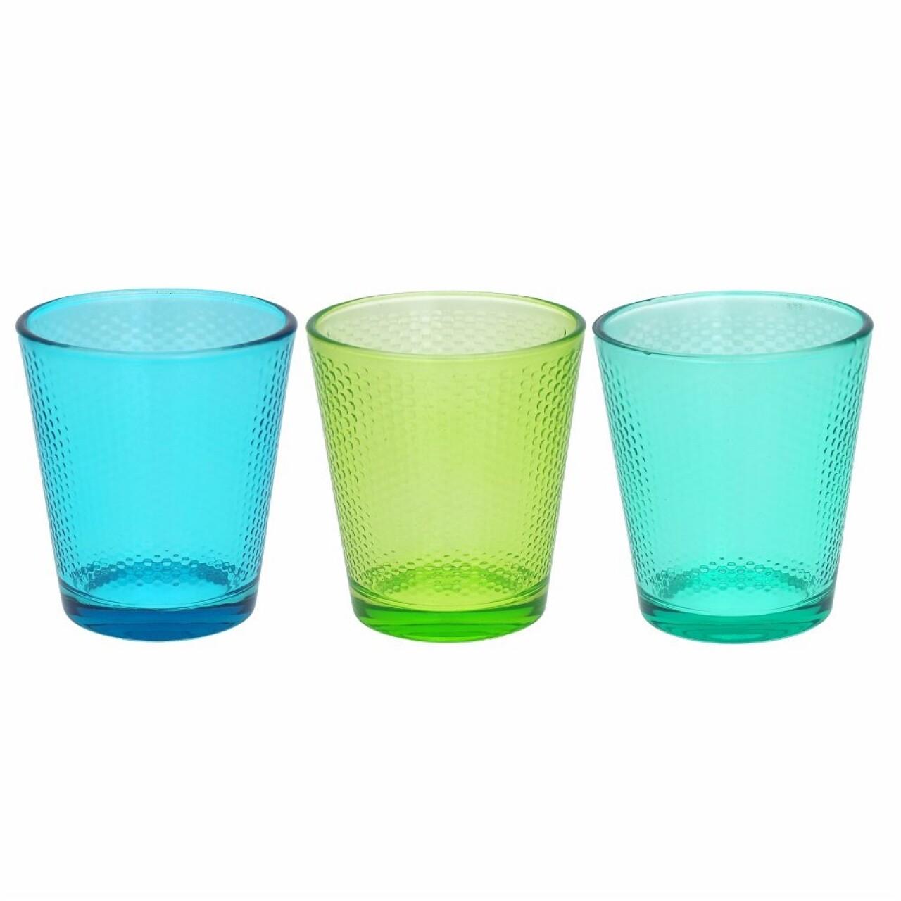 Set 3 pahare din sticla Golf Summer, Tognana, 340 ml, sticla, verde/albastru