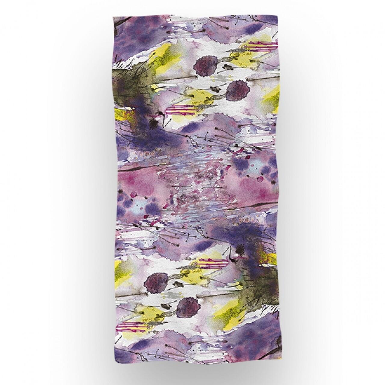 Prosop de baie si plaja Flora, Aglika, 70 x 140 cm, 70% bumbac, 30% microfibra, multicolor