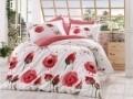 Lenjerie de pat pentru o persoana, 3 piese, 100% bumbac poplin, Hobby, Veronika, alb/rosu